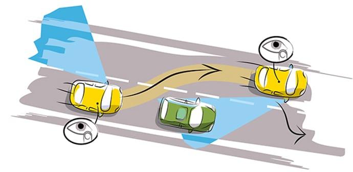 condução defensiva numa ultrapassagem