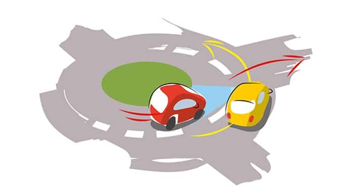 condução defensiva numa rotunda