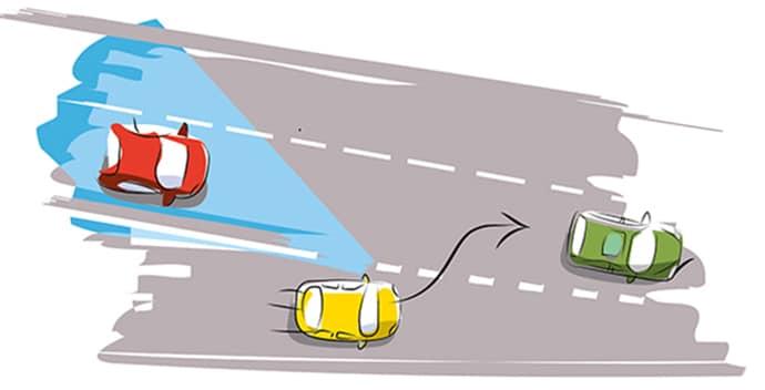 condução defensiva numa mudança de faixa