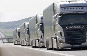 Platooning with Scania R 620 4x2 Topline. Trier, Germany Photo: Photo montage 2011 CONFIDENTIAL OR EDITORIAL