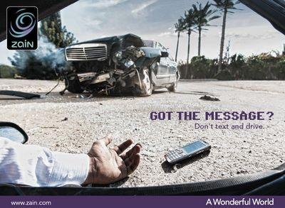 Condução e telemóveis, anúncios, prevenção rodoviária