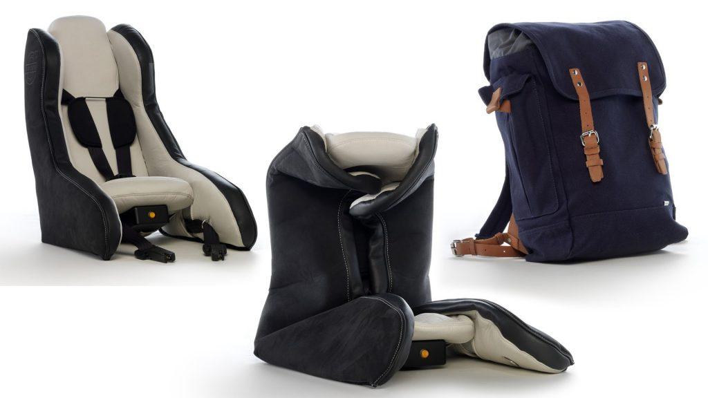 Protótipo de cadeira insuflável desenvolvido pela Volvo. Cadeirinhas de criança